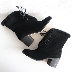 NWT Splendid Black Suede Faux Fur Lace Up …